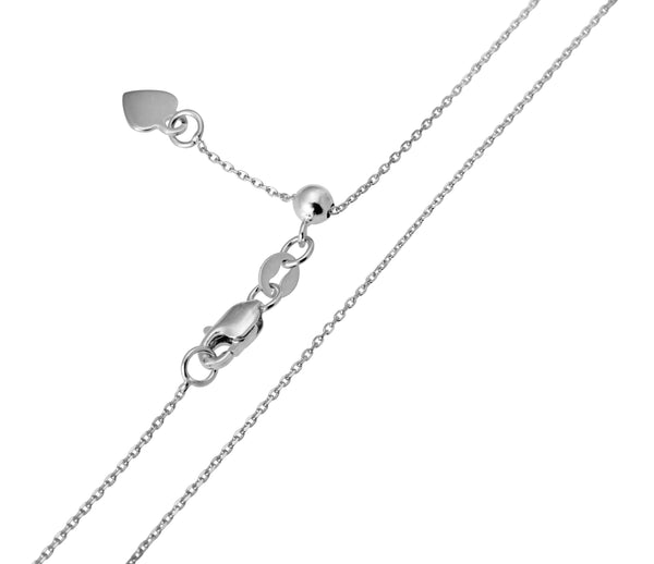 "14K Real White Gold Cable Adjustable Light Thin Chain Necklace 0.9mm Width 20"" Inches for Women"