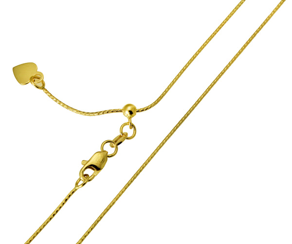 "14K Real Yellow Gold Snake Adjustable Chain Necklace 0.7mm Width 20"" Inches for Women"