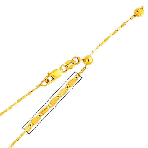 "14K Real Yellow Gold Twist Mirror Adjustable Chain Necklace 1.1mm Width 20"" Inches for Women"
