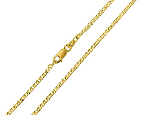 14K Real Yellow Gold Flat Open Wheat Chain Necklace 1.6mm Width for Children & Women