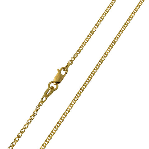 14K Real Yellow Gold Flat Open Wheat Chain Necklace 1.4mm Width for Children & Women