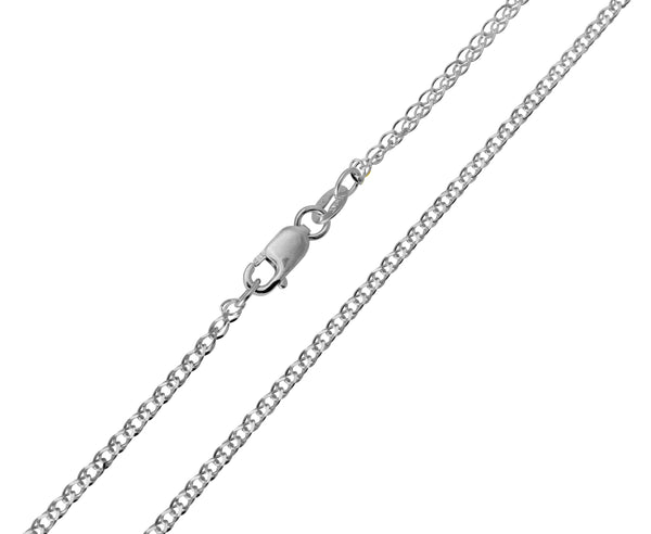 14K Real White Gold Flat Open Wheat Chain Necklace 1.9mm Width for Children & Women