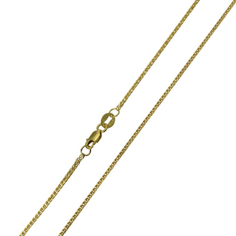 14K Real Yellow Gold Braided Square Wheat Chain Necklace 1.0mm Width for Children & Women