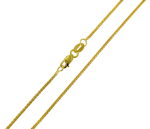 14K Real Yellow Gold Braided Round Wheat Chain Necklace 1.1mm Width for Children & Women