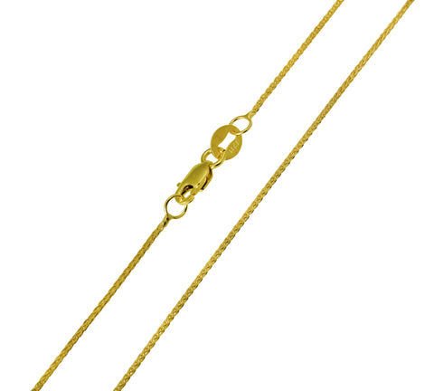 14K Real Yellow Gold Braided Round Wheat Chain Necklace 0.9mm Width for Children & Women