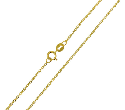 14K Real Yellow Gold Singapore Light Thin Chain Necklace 0.8mm Width for Children & Women