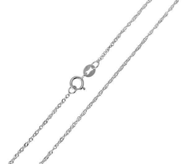 14K Real White Gold Singapore Light Thin Chain Necklace 0.8mm Width for Children & Women