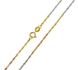 14K Real 3 Color Yellow White Rose Gold Singapore Light Chain Necklace 1.2mm Width for Children & Women
