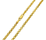 14K Real Yellow Gold Classic Rolo Cable Chain Necklace 2.0mm Width for Women