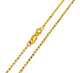 14K Real Yellow Gold Classic Rolo Cable Chain Necklace 1.5mm Width for Women