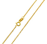 14K Real Yellow Gold Classic Rolo Cable Chain Necklace 1.1mm Width for Women