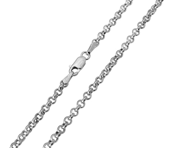 14K Real White Gold Classic Rolo Cable Chain Necklace 2.0mm Width for Women