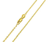 14K Real Yellow Gold Rolo Cable Diamond Cut Chain Necklace 1.5mm Width for Women