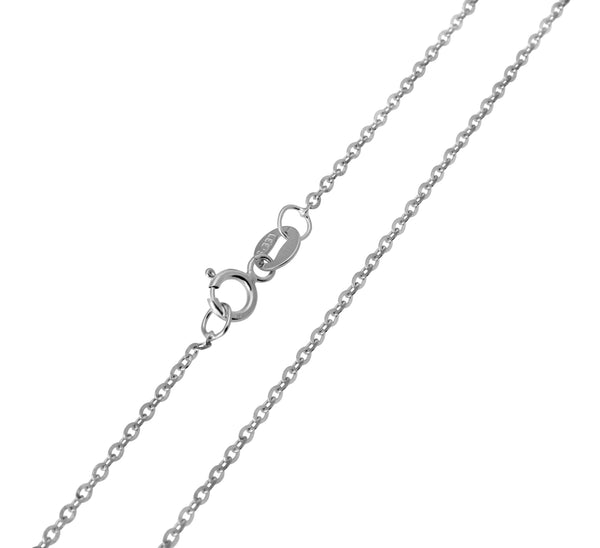 14K Real White Gold Rolo Cable Diamond Cut Chain Necklace 1.0mm Width for Women