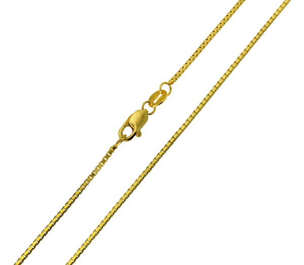 14K Real Yellow Gold Box Link Chain Necklace 1.0mm Width for Children & Women