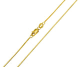 14K Real Yellow Gold Box Link Chain Necklace 0.8mm Width for Children & Women