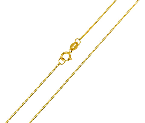 14K Real Yellow Gold Box Link Chain Necklace 0.6mm Width for Baby, Children & Women