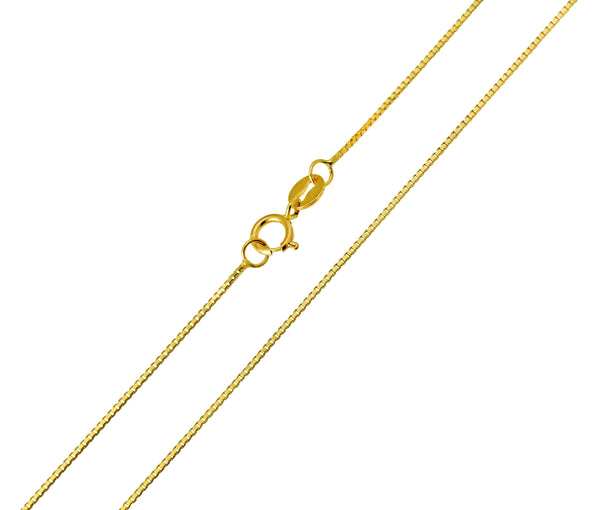 14K Real Yellow Gold Box Link Light Thin Chain Necklace 0.5mm Width for Baby, Children & Women