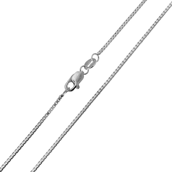 14K Real White Gold Box Link Chain Necklace 0.8mm Width for Children & Women