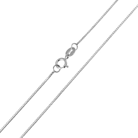 14K Real White Gold Box Link Light Thin Chain Necklace 0.5mm Width for Baby, Children & Women