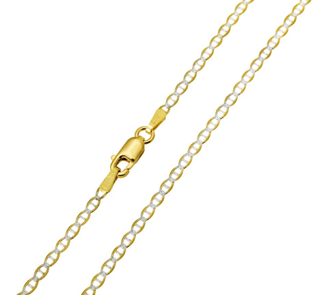 14K Real Yellow Gold Flat Mariner Two Tone White Pave Chain Necklace 2.0mm Width for Children & Women