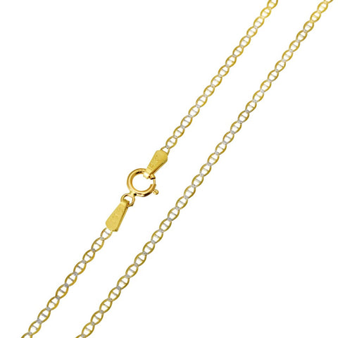 14K Real Yellow Gold Flat Mariner Two Tone White Pave Light Thin Chain Necklace 1.4mm Width for Baby, Children & Women