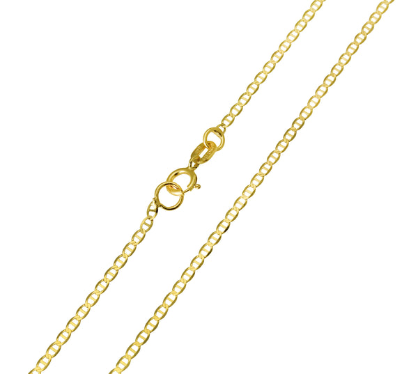 14K Real Yellow Gold Flat Mariner Light Thin Chain Necklace 1.3mm Width for Baby, Children & Women