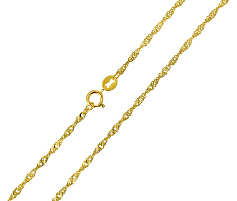 14K Real Yellow Gold Singapore Chain Necklace 1.5mm Width for Children & Women