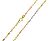 14K Real 3 Color Yellow White Rose Gold Singapore Chain Necklace 1.5mm Width for Children & Women