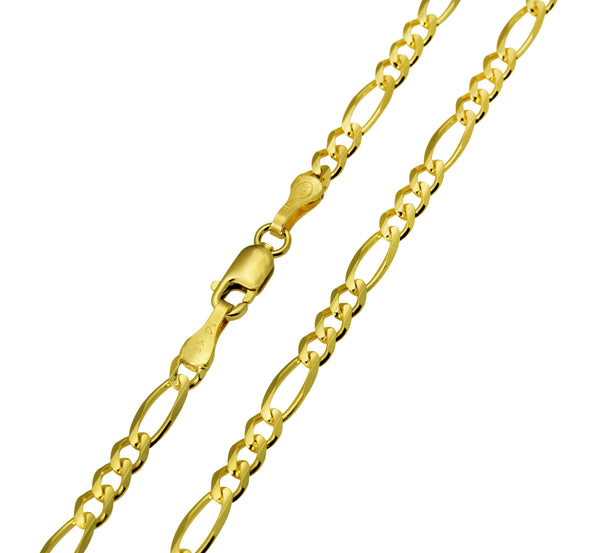 14K Real Yellow Gold Figaro 3+1 Chain Necklace 3.0mm Width for Children, Women & Men