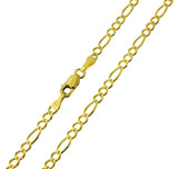 14K Real Yellow Gold Figaro 3+1 Chain Necklace 2.7mm Width for Children & Women