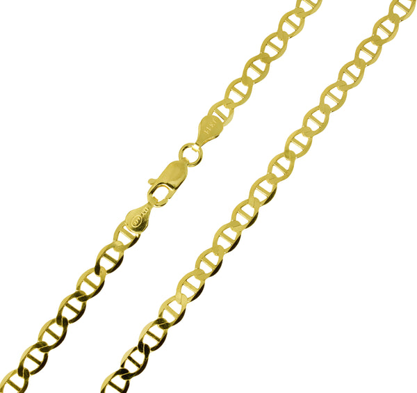 14K Real Yellow Gold Flat Mariner Chain Necklace 4.2mm Width for Women & Men