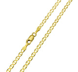 14K Real Yellow Gold Flat Mariner Chain Necklace 2.7mm Width for Children & Women