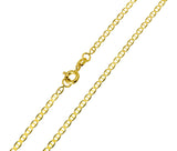 14K Real Yellow Gold Flat Mariner Light Chain Necklace 2.0mm Width for Baby, Children & Women
