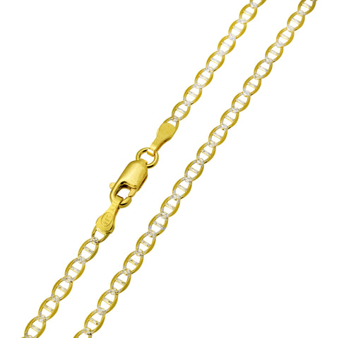 14K Real Yellow Gold Flat Mariner Two Tone White Pave Chain Necklace 3.2mm Width for Children, Women & Men