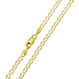 14K Real Yellow Gold Flat Mariner Two Tone White Pave Chain Necklace 2.7mm Width for Children & Women