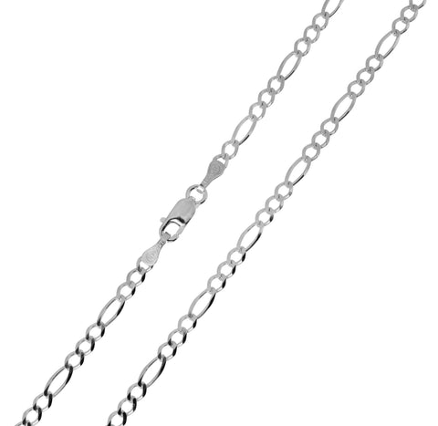 14K Real White Gold Figaro 3+1 Chain Necklace 2.7mm Width for Children & Women