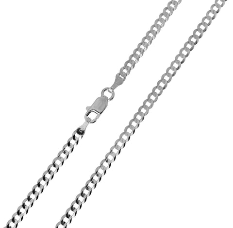 14K Real White Gold Curb Cuban Chain Necklace 3.0mm Width for Children, Women & Men