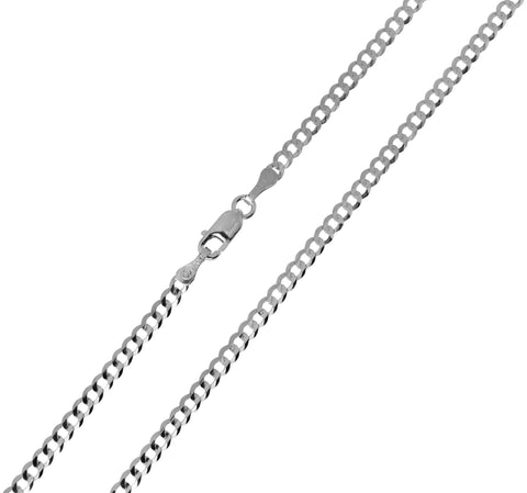 14K Real White Gold Curb Cuban Chain Necklace 2.7mm Width for Children & Women