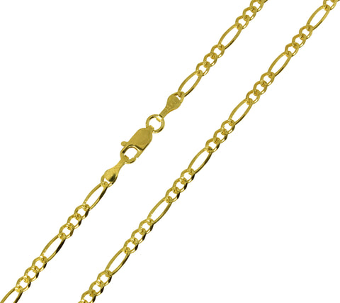 14K Real Yellow Gold Figaro 3+1 Diamond Cut Chain Necklace 3.0mm Width for Women & Men