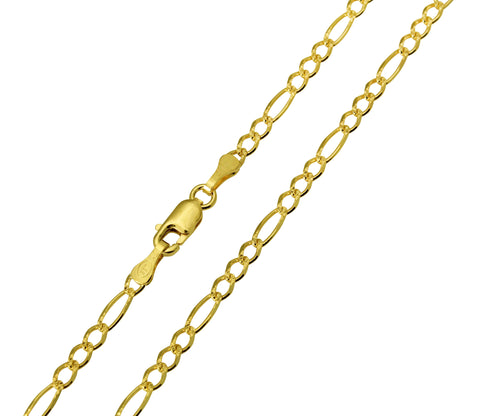 14K Real Yellow Gold Figaro 3+1 Diamond Cut Chain Necklace 2.7mm Width for Children & Women