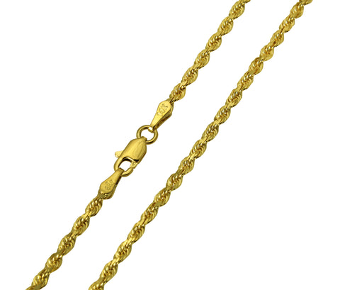 14K Real Yellow Gold Diamond Cut Rope Chain Necklace 2.5mm Width for Women & Men