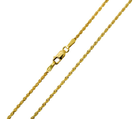 14K Real Yellow Gold Diamond Cut Rope Chain Necklace 1.5mm Width for Children & Women