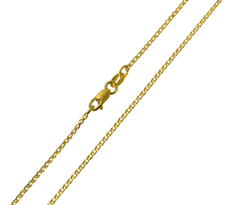 14K Real Yellow Gold Flat Open Wheat Chain Necklace 1.2mm Width for Children & Women