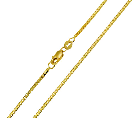 14K Real Yellow Gold Box Link Chain Necklace 1.2mm Width for Women & Men