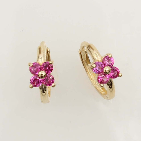 14K Real Yellow Gold Flower Red Stone Cubic Zirconia Small Huggies Earrings for Baby and Children