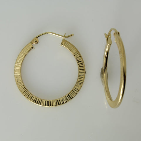 "14K Real Yellow Gold 1mm Thickness Diamond-Cut Elegant Hinged Hoop Earrings 22mm ( 7/8"" )"