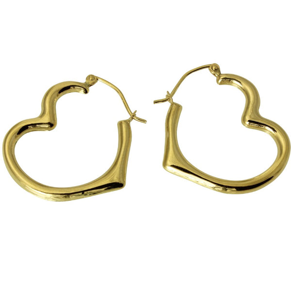 14K Real Yellow Gold 3mm Thickness High Polished Heart Fancy Hinged Earrings