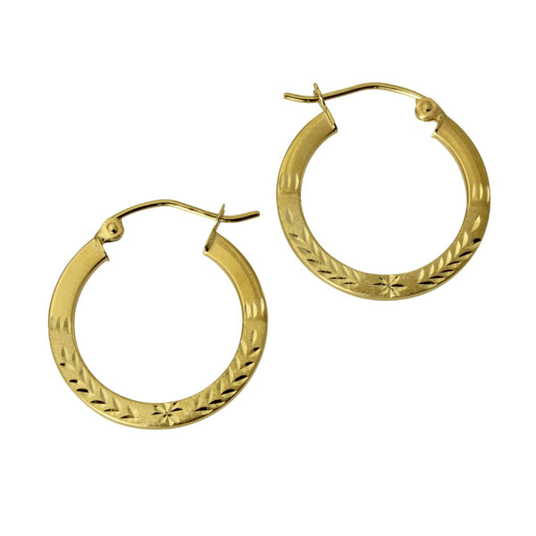 14K Real Yellow Gold 1.5mm Thickness Diamond Cut High Polished Elegant Hoop Earrings