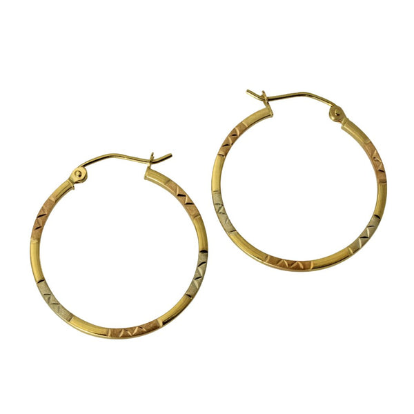 14K Real 3 Color Yellow White Rose Gold 1.5mm Thickness Diamond Cut Tube Hoop Earrings
